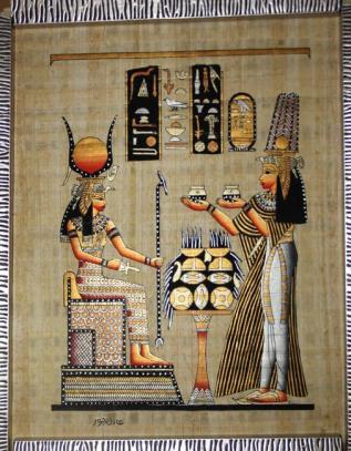decoracao-de-parede-egyptian-papyrus-isis-e-nefertari-pintura-em-100-autentico-egyptian-papyrus-papel-de